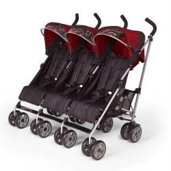 wózek dla trojaczków - czerwony